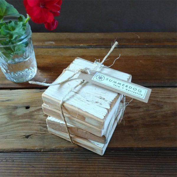 reclaimed wood coasters
